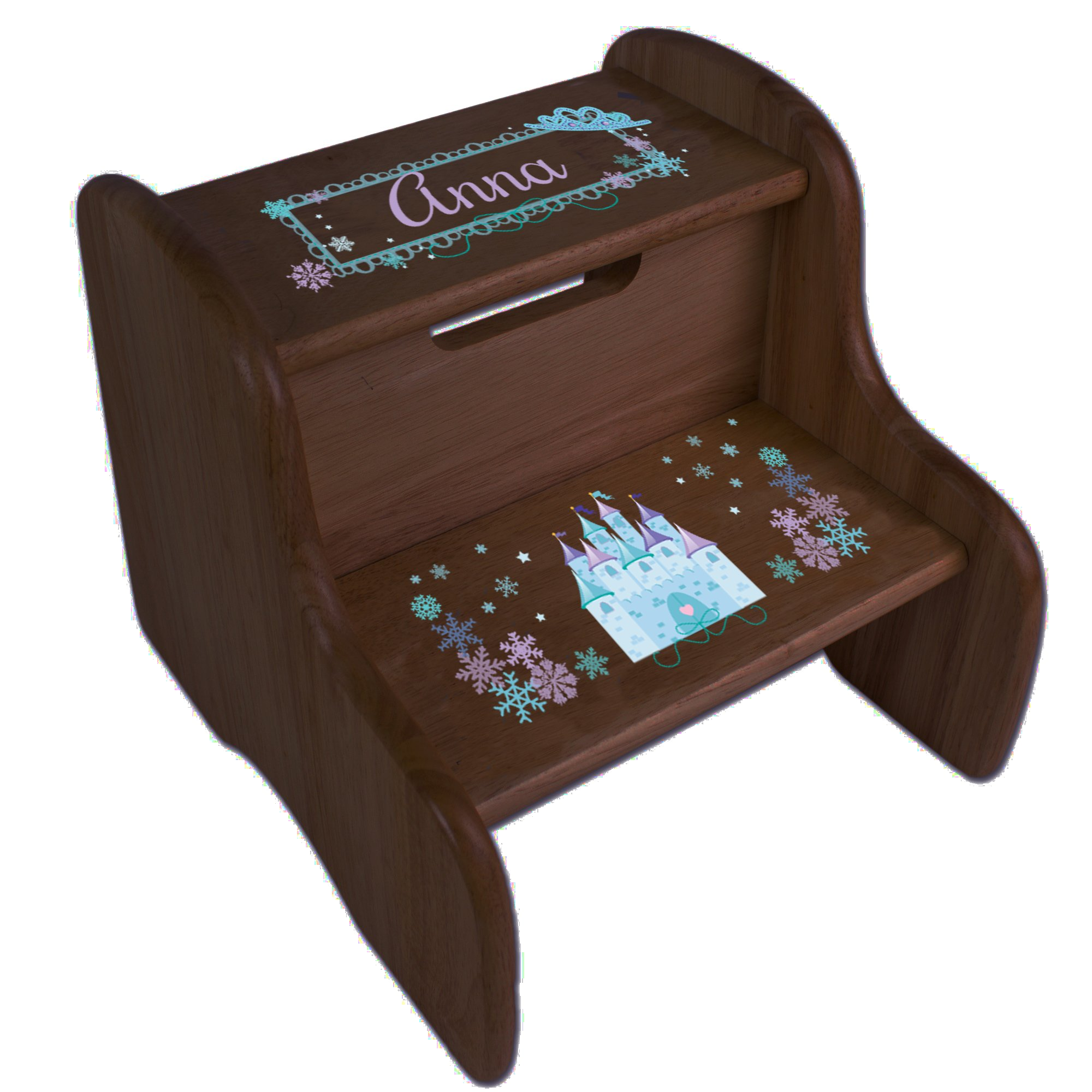 Personalized Ice Princess Castle Espresso Two Step Stool