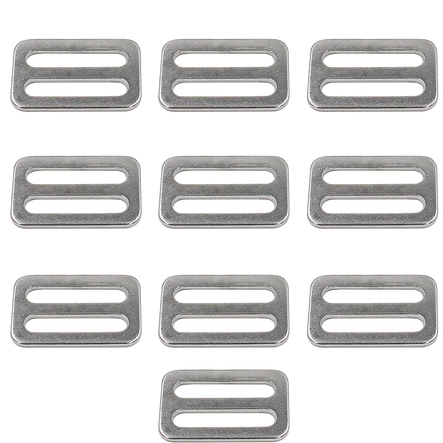 YYST 304 Stainless Steel Triglides Sliders for 1 Straps, 10/PK Yi Ya Su