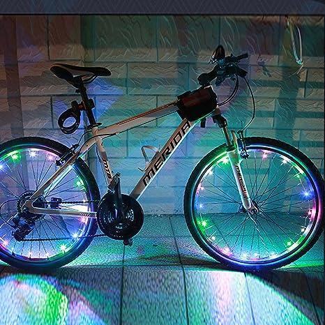 Xcellent Global Luz LED Colorida Aro Rin Rueda Ciclismo Bici Bicicleta Resistente Agua, 2 pzas