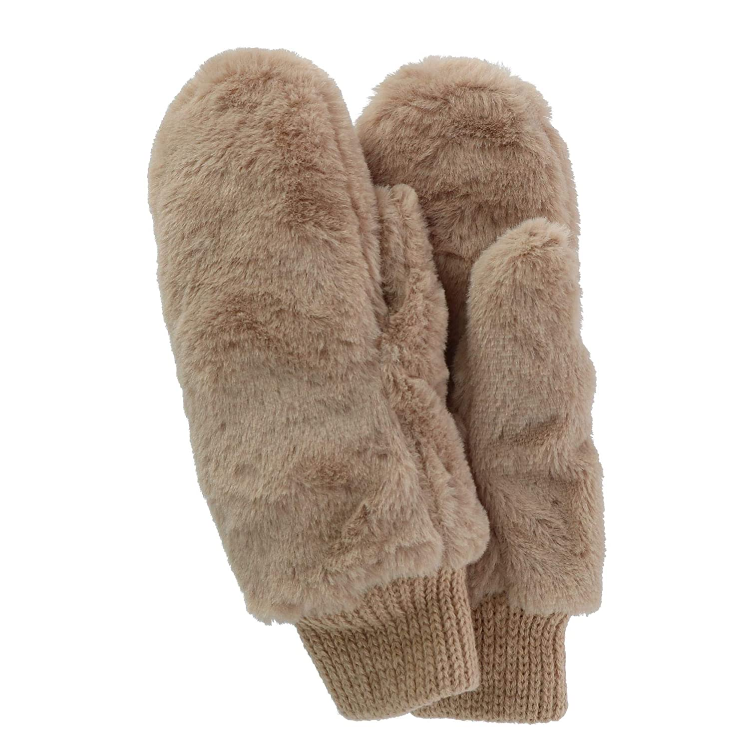 Alexa Rose Women's Fur Mitten with Sherpa Lining, Tan