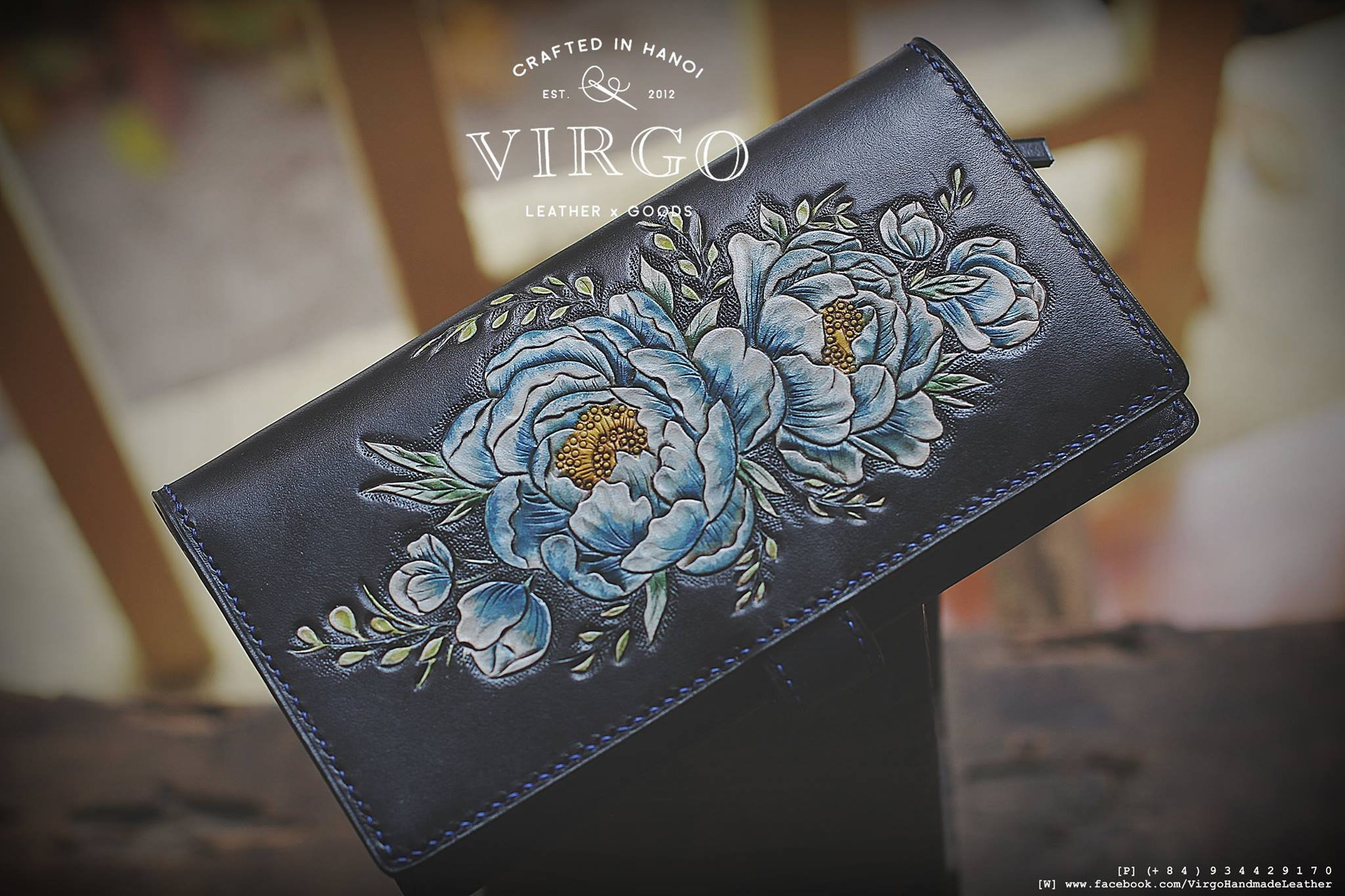 Blue Peony long hand tooled wallet for women | Personalized Vintage vegetable tanned leather handmade wallet