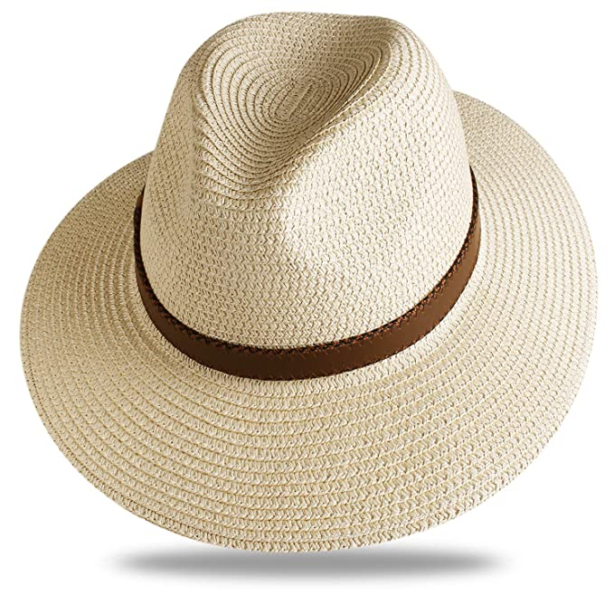 8a36050ae8a38 Image Unavailable. Image not available for. Color  FURTALK Sun Hats for Men Women  Wide Brim Havana Jazz Sun Protection Straw Panama Fedora Beach