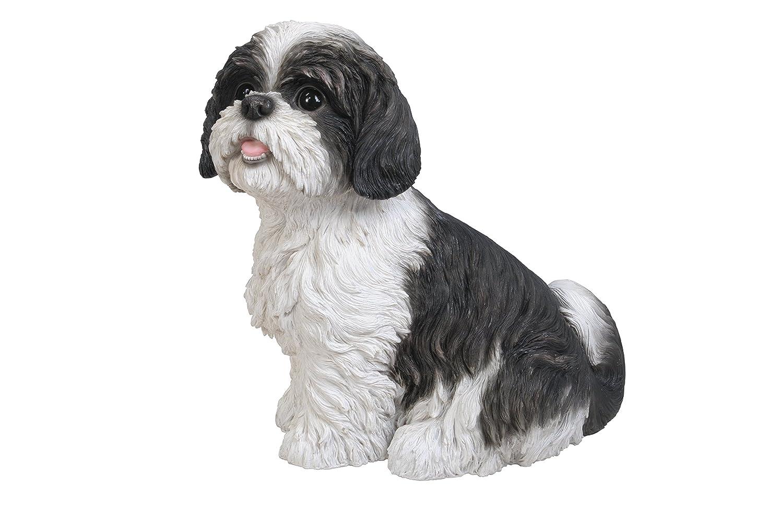 Vivid arts sitting shih tzu dog resin ornament black white amazon co uk garden outdoors
