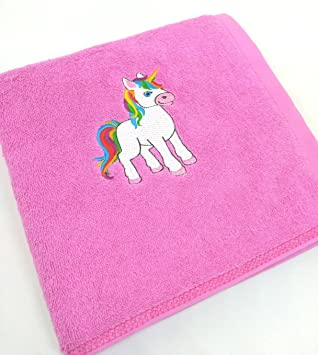 Fairy-T – Toalla unicornio, unicornio bordado, unicornio, toalla de baño bordada, toallas, 100% algodón, rosa, toalla de baño para bebés: Amazon.es: Hogar