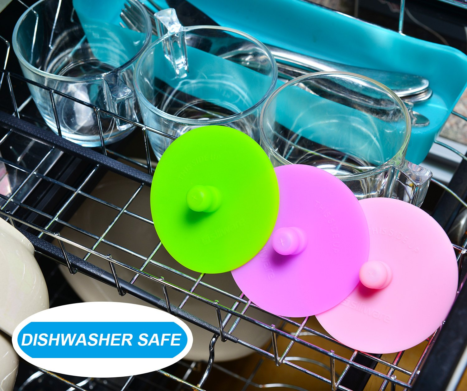 6-Pack Waterless Airlock Fermentation Lids for Wide Mouth Mason Jars, Mold Free, Food-Grade Silicone Easy Fermenting Lids for Sauerkraut, Kimchi, Pickles or Any Fermented Probiotic Food (3 Colors) by Siliware (Image #5)