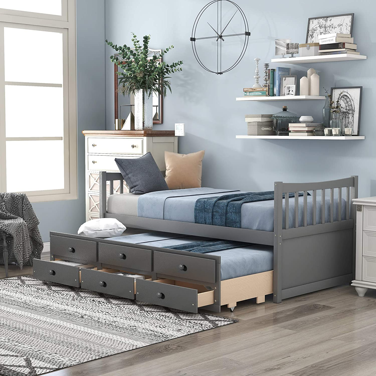 Captain's Storage Daybed with Trundle and Drawers (Grey)