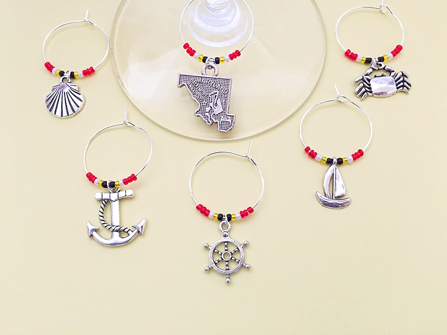 and Ship Wheel. Maryland nautical theme keychain Blue Crab Includes State of Maryland