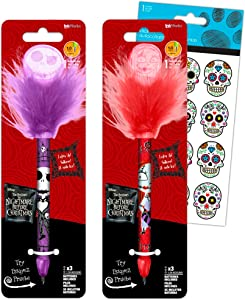 Nightmare Before Christmas Pen Set ~ 2 Light-Up Bobble Head Wiggle Pens and Stickers (Nightmare Before Christmas Office Supplies, School Supplies, Merchandise for Kids Adults)