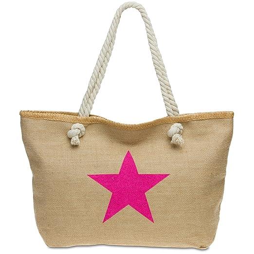 CASPAR TS1026 XL Bolso de Mano para Mujer de Yute/Bolso de Hombro de Playa con Estrella, Color:fucsia;Tamaño: Talla Única: Amazon.es: Ropa y accesorios