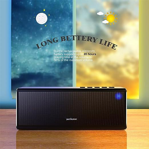 Altavoces Bluetooth, parikaras estéreo altavoz de 20 W (Dual 10 W controladores, doble subwoofer pasivo, Strong Bass, aleación, Bluetooth 4.0, ...