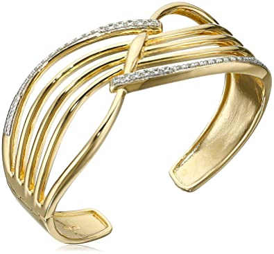 b705fc480 18k Yellow Gold Plated Sterling Silver Genuine Diamond Hinged Cuff Bracelet  (1 4 cttw