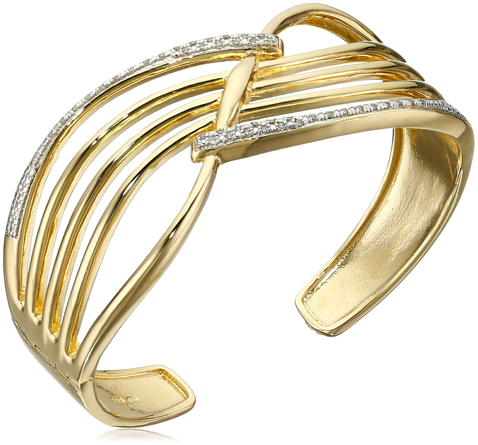 18k Yellow Gold Plated Sterling Silver Genuine Diamond Hinged Cuff Bracelet (1/4 cttw, I-J Color, I2-I3 Clarity), 7.25''