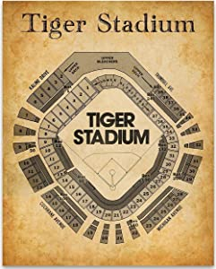 Detroit Old Tiger Stadium Seating Chart - 11x14 Unframed Art Print - Great Sports Bar Decor and Gift Under $15 for Baseball Fans