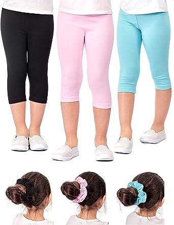 MyKazoe Girls Ultra Soft Seamless Capri Leggings with Lace Trim Set of 4
