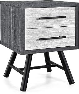 Christopher Knight Home Harrison Mid-Century Modern Nightstand, Sonoma Gray Oak + Gray Oak + Black