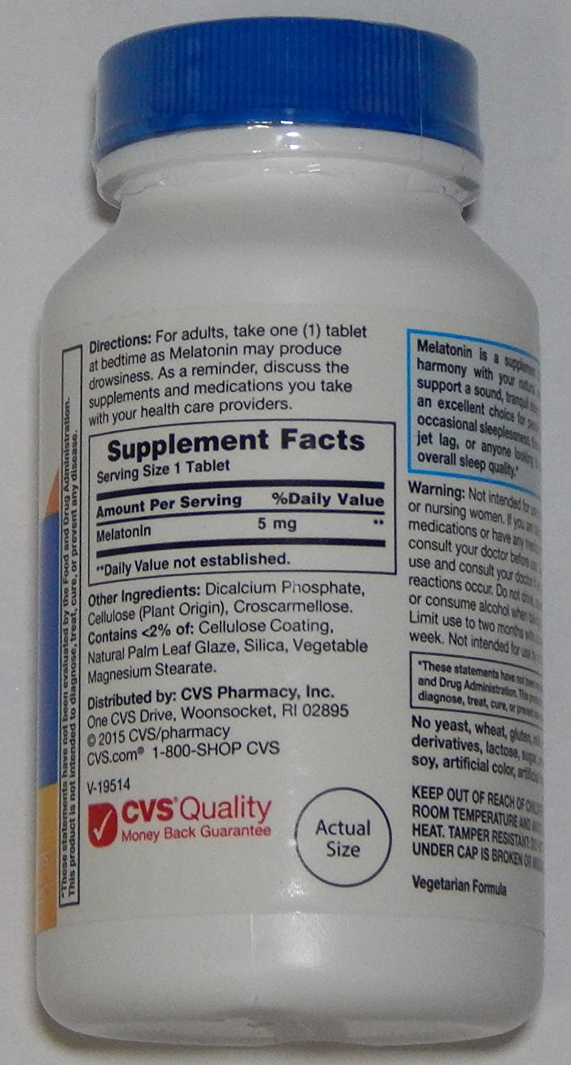 Amazon.com: CVS Health 5mg Melatonin Sleep Aid, 1 Bottle of 120 Tablets: Health & Personal Care