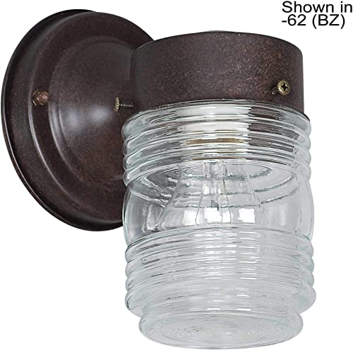 Sunset Lighting F4600-31 One Light Outdoor Wall Mount, Black Finish with Clear Jelly Jar Glass