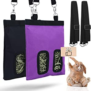 2 Pieces Rabbit Hay Feeder Bag Guinea Pig Hay Bag Small Animal Hay Feeder Bag Hanging Feeder Sack Storage with 2 Holes for Rabbit Guinea Pig Chinchilla Hamsters Small Pets