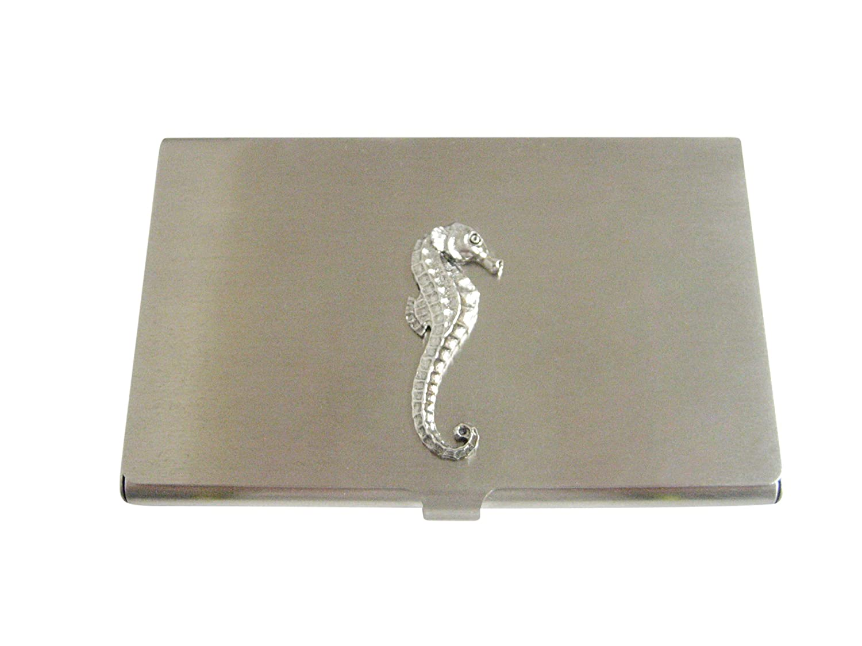 Silver Toned Textured Sea Horseビジネスカードホルダー   B06XVP3WWF