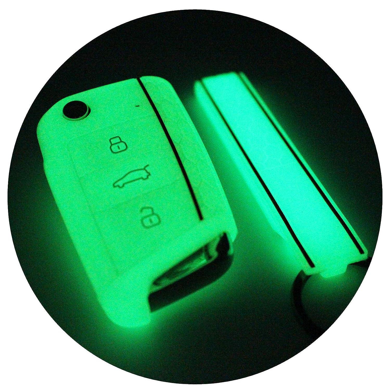 Funda de silicona + llavero de Finest-Folia con tres botones, para llaves de coche fluorescente