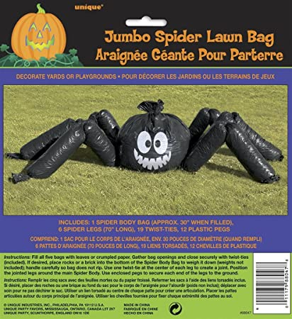 Funmasters Halloween Bundle of 2 Packages of Leaf Bags Including 1 Jumbo Hanging Spider Leaf Bag 22 Foot and 18 Hanging Ghosts 8 X 20 Inches Leaf Bags
