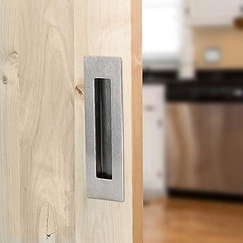 Amazon Com 2 Pack Rectangular Flat Plate Recessed Flush Sliding Pocket Door Handles Recessed Satin Nickel Sliding Barn Door Handle 1 Inset Hidden Screws Mount Screws Included Home Improvement