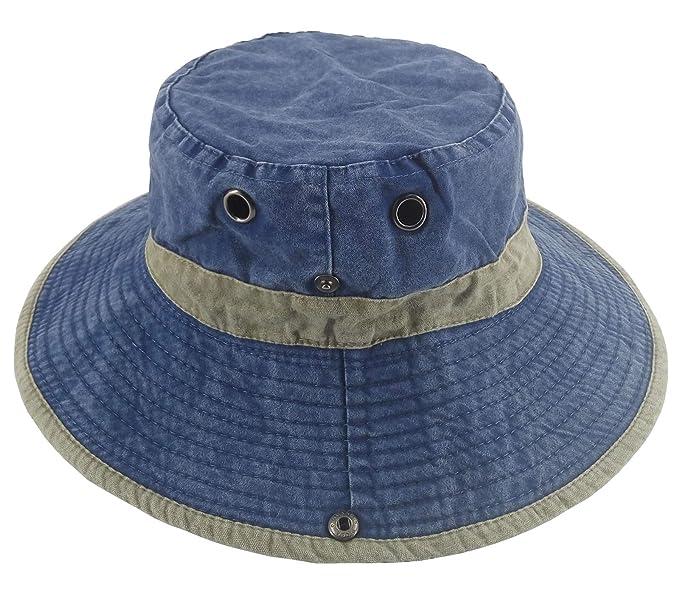207054eb1cf1c Ledamon Men s Sun Hat Fisherman Hat Outdoor UV Protection Fishing Bucket Hat  (Blue)