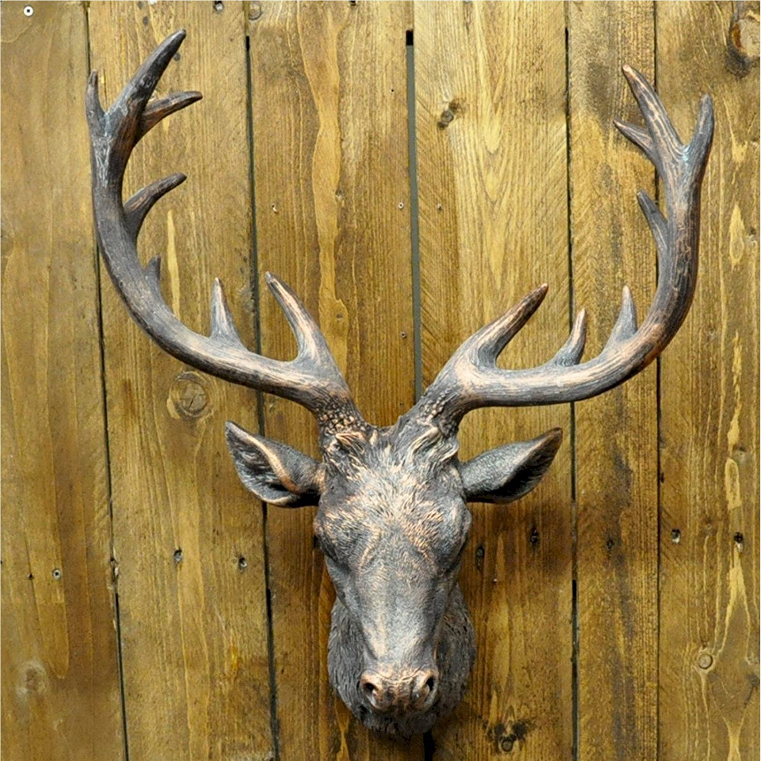 Large painted bronze wall hanging deer stags head wall art amazon large painted bronze wall hanging deer stags head wall art amazon kitchen home amipublicfo Image collections
