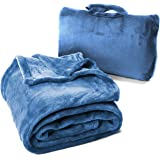 Cabeau Fold 'n Go Travel Blanket & Case - Doubles as Lumbar Pillow and Neck Support Pillow - Blue