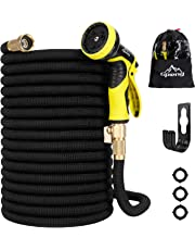 """Garden Hose, [ 2019 New Upgraded ] , 50 /100 ft Expandable Garden Hose,Expanding Water Hose,Lightweight Garden Water Hose with 3/4"""" Solid Brass Fittings, 9 Function Spray Nozzle Expanding Garden Hoses,Durable Outdoor Gardening Flexible Hose (Black,50FT + Nozzle + Hanger)"""