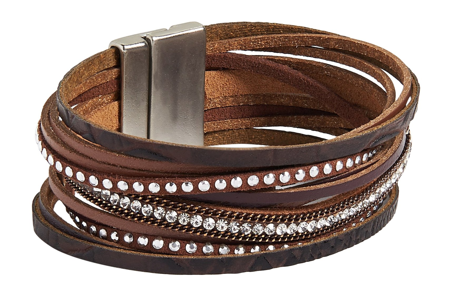 maurices Women's Brown Tone Layered Magnetic Bracelet Misc Brown Combo