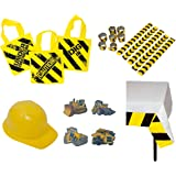 Construction Birthday Party Supplies: Ready-To-Use Favor & Decoration Set - (