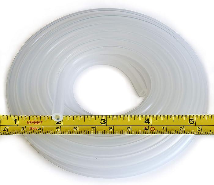 "Pure Silicone Tubing - 1/8"" ID x 1/4"" OD - High Temp Kink-Free Hose Tube 500F (10 Feet)"