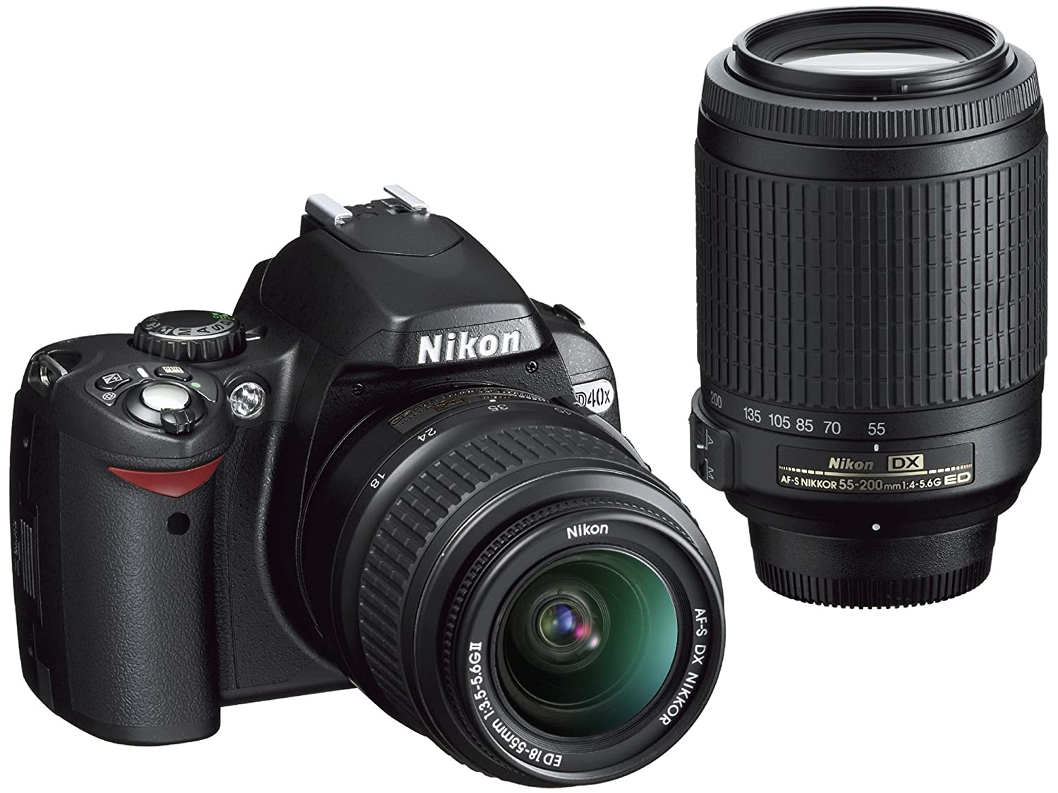 Amazon Nikon D40X DSLR Camera With 18 55mm F 35 56G ED II AF S DX And 55 200mm 45 Zoom Nikkor Lens Photo