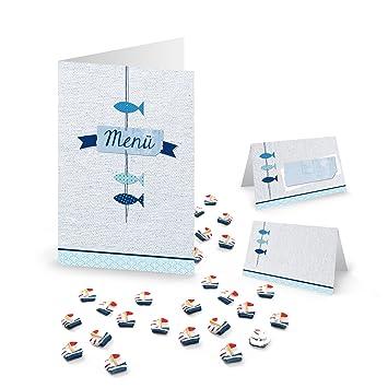 Maritime Fische Tisch Deko Set 65 Tlg 10 Blau Turkis Weiss Menukarte