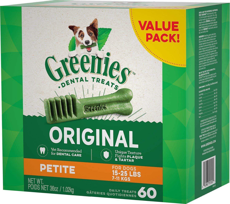 Greenies Dental Chews Value Size Tub Petite 180oz(5 x 36oz Tubs)