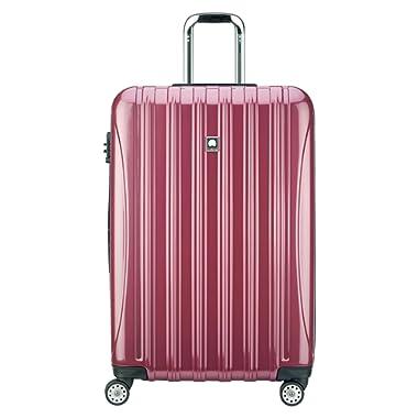Delsey Luggage Helium Aero, Large Checked Luggage, Hard Case Spinner Suitcase, Peony Pink