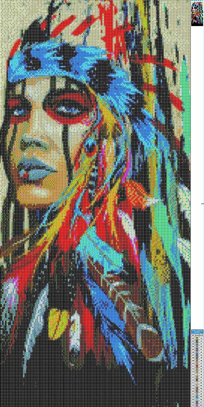 Diamond Art Painting Kits for Adults 40x80cm Full Drill Native American Indian Woman 1 DIY Diamond Cross Stitch Patterns Dreamcatcher Feather Set with Tools Accessories Supplies Adults