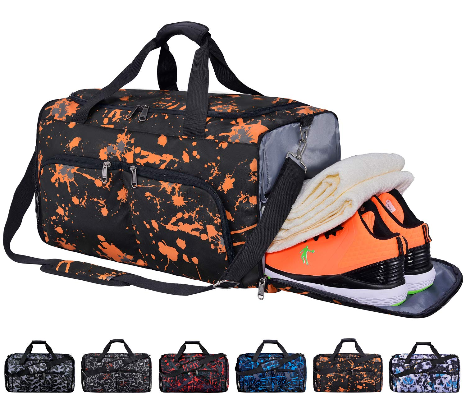 new arrivals 15ba9 0517e FANCYOUT Sports Gym Bag with Shoes Compartment   Wet Pocket, Travel Duffel  Bag for Men