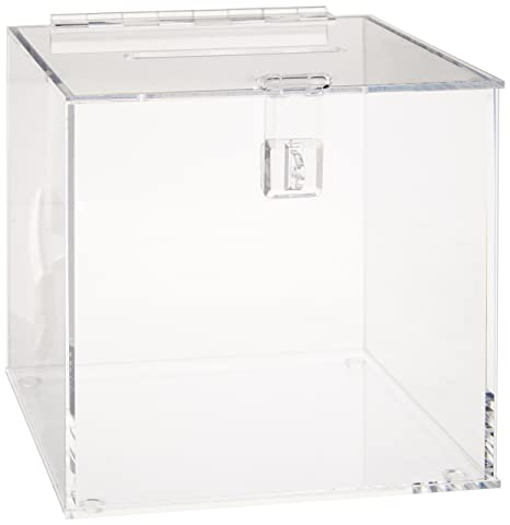 Amazoncom Displays2go Clear Acrylic Cube Ballot Box With Hinged