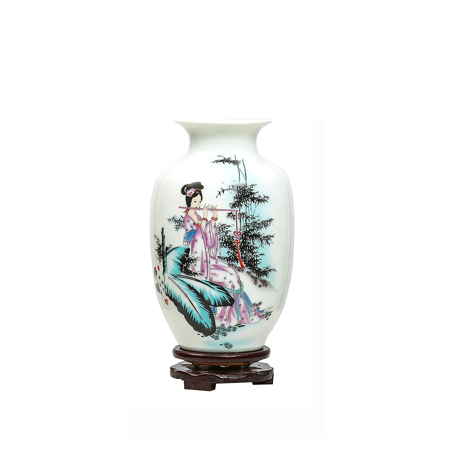ufengke Chinese Retro White Porcelain Ceramic Vase With Base, Beauty Painting, Art Home Decoration, Type A