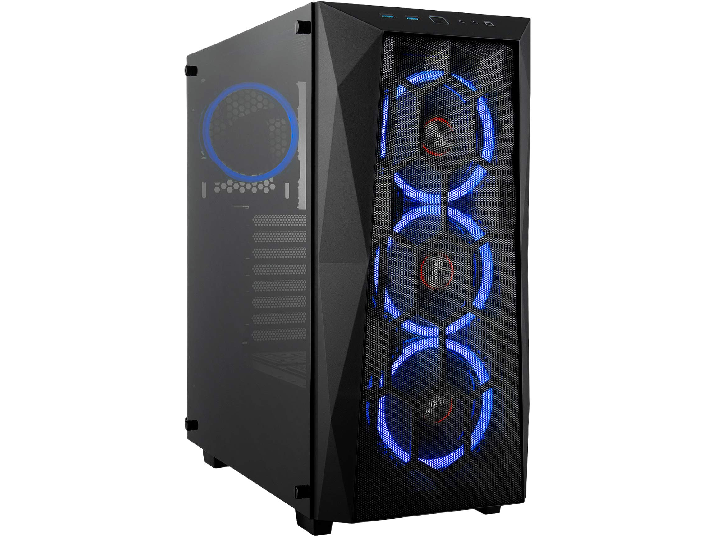 Rosewill ATX Mid Tower Gaming PC Computer Case with Tempered Glass/Steel/Mesh, Includes 4 x 120mm Blue LED Fans, 240mm AIO Liquid Cooler and 330mm VGA Support - Spectra X-Blue