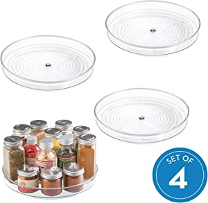 """iDesign Linus Turntable, Kitchen Pantry or Countertop Organization, 9"""" Inch, Clear, 4 Set"""