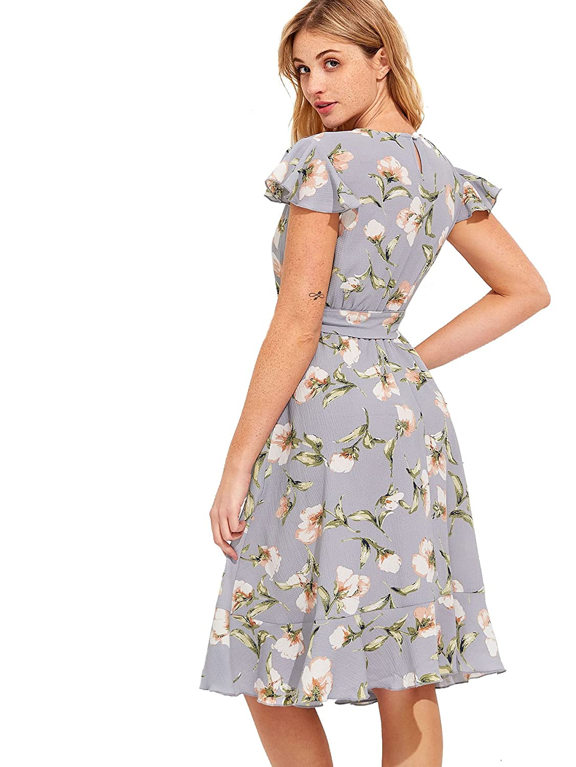 9b6ece61b9a1 Watercolor Floral Chiffon Maxi Dress With Flutter Sleeves