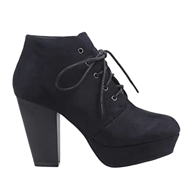ff0d64784ed Women High Heel Ankle Boots Lace up Faux Suede (6.5