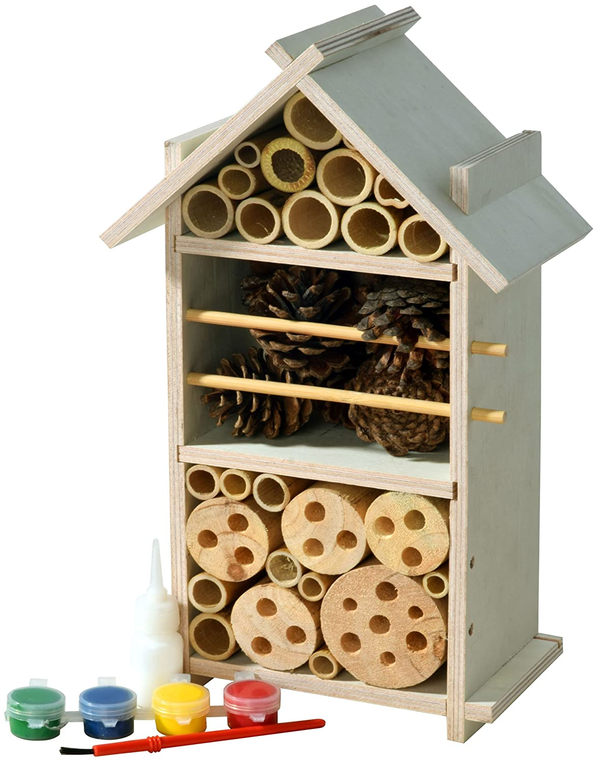 Luxus-Insektenhotels 22369FSC FSC-Wood Insect hotel set for children to build and paint