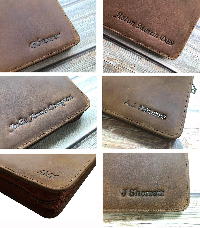 Cohokori Handmde Leather Portfolio with Handle for Legal Pad 8.5x14,Slim Laptop Case for 15 Inch with Shoulder Strap,Vintage Folder,Dark Brown