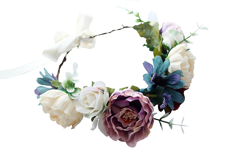 Vivivalue Boho Handmade Flower Wreath Halo Headband Floral Hair Garland Crown Headpiece with Ribbon Festival Wedding Party CSCH000316PU