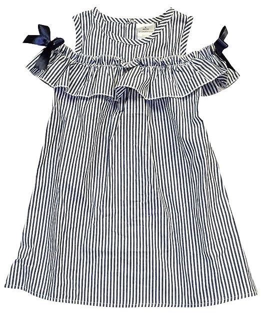 d907e222e Amazon.com  Little Girls Lovely Cold Shoulder Ruffle Stripe Birthday ...