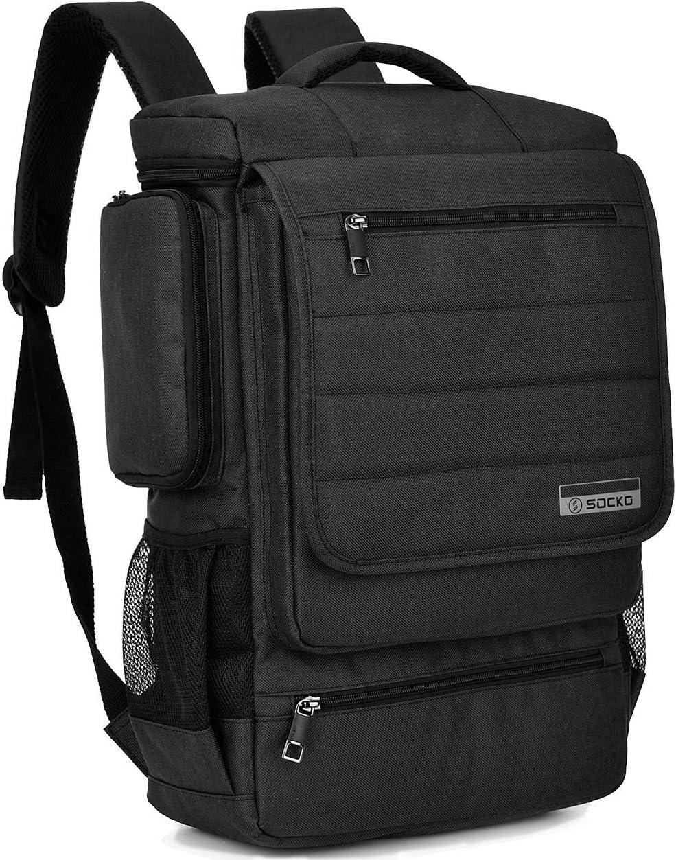 SOCKO Multi-Functional Laptop Backpack Business Travel Luggage Bag College Backpack Shoulder Bag for Men Women Casual Daypack Computer Rucksack Fits Up to 17.3 Inch Laptop/Notebook, Black